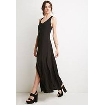 Vestido Largo Negro Forever 21 Talle S Noche