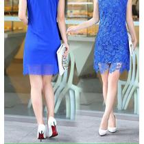 Vestido De Fiesta Encaje Azul Hermoso Importado