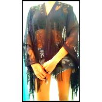Kimono De Encaje Negro Con Flecos