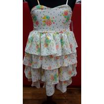 Vestido Niña Con Volados - Gasa Estampada - Talle 4