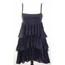 Divino Vestido H&m Fiesta Corto-ideal Teen-negro Plisado-xs