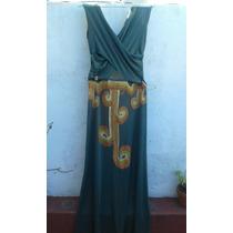 Vestido De Fiesta Largo Vintage Pintado A Mano. Talle S
