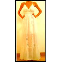 Vestido Largo Blanco Importado Con Encaje Y Espalda Descubie