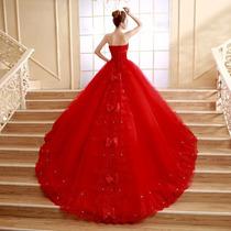 Vestido De Novia Rojo 2015 C/cola 1mts(directo China)#hhs006