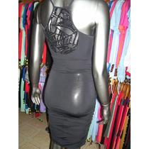 Vestido Negro Fiesta Talle 42/44 A La Rodilla C/ Lentejuelas