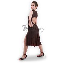 Vestido De Tango Y Noche Color Marrón Chocolate - Talle M