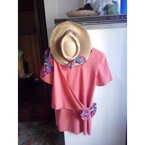Vestido Color Rosa De Lino