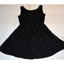 Lindisimo Vestido Fiesta Encaje Negro Con Brillos Importado