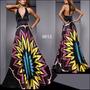 Magnifico Vestido Estampado Multicolor Importado Moda Pasión