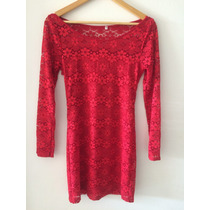 Vestido Corto Encaje Rojo Y Mangas Largas