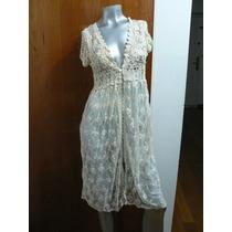 Vestido Romantico Bordado Y Tejido Crochet Guipiur