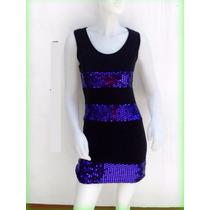 Vestido Musculosa Remera Negro Brillo Violeta S/ M Fiesta 15