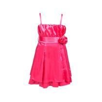 Vestido De Nena, De Satén Con Frunce Y Flor, Brishka, N-0021