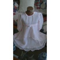 Vestido Nena Fiesta Bautismo 1 Añito Gasa Rosa (ana.mar)