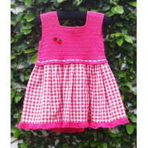 Vestido Nena 1 Año Blanco Y Rosa Algodón Crochet Artesanal
