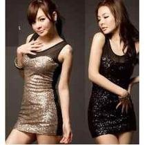Espectacular Vestido Importado Usa Tull Modal Lentejuelas