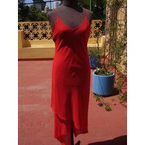 Vestido De Noche-rojo-largo-de Organza-termina En Gajos.