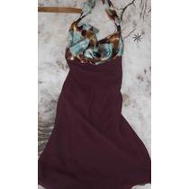 Vestido Corto De Gasa Combinado Con Saten Estampado