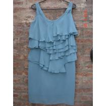 Vestido De Gasa Color Turquesa - Zara