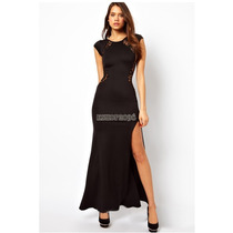 Vestido Fiesta Largo Negro Con Encaje Importado