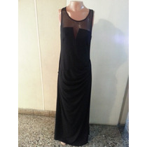 Vestido Largo De Crepe Con Transparencia T L $ 800