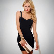 Hermoso Vestido De Fiesta Negro De Lycra, Modela Tu Figura!
