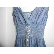 Vestido Jean Azul Con Breteles Elastizado Cintura Con Lazo
