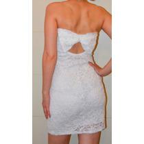 Hermoso Vestido De Encaje Blanco Ideal Civil, Forrado, Único