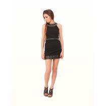 Vestido Jersey Lame Y Tachas - Viuda Negra - Diseño De Autor