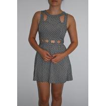 Vestido De Fibrana Con Hermosos Recortes - Marca Hym