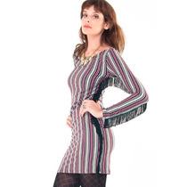Vestido Corto Algodon Rayado Con Flecos Mujer Basilotta