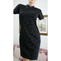 Tramps Vestido M, Modal Lycra Negro Flores Labradas (ana.mar