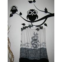 Vestido Strapless Blanco Y Negro Talle M Elastizado Diseño
