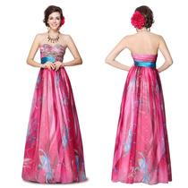 Vestido Largo Strapless Tul Estampado Multicolor Importado