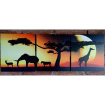 Cuadro Tríptico Étnico Animales Africanos Decorativo