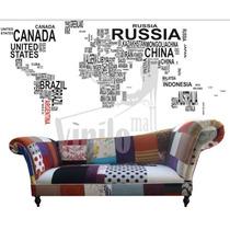 Vinilo Decorativo Mapa Mundi Gigante Completamente Calado