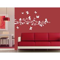 Vinilo Pared Rama Y Mariposas Decoracion Wall Stickers