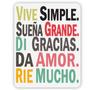 Vinilo Decorativo Adhesivo Vive Simple. Med Plancha 30x40