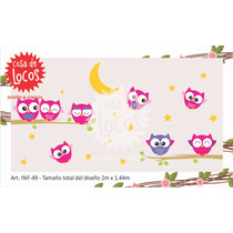 Vinilo Decorativo Infantil Buhos, Luna, Estrellas. Pared
