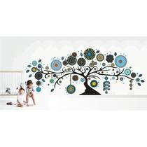 Arbol Con Mandalas, Vinilo Decorativo 240 Cm. Tonos Azules