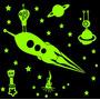 Set Cohete 1.8 M2 Vinilo Deco Infantil Brilla En Oscuridad