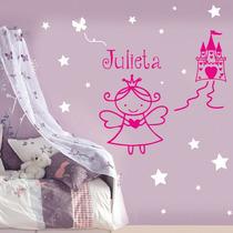 Vinilo Decorativo Princesas Y Hadas Personalizado Con Nombre