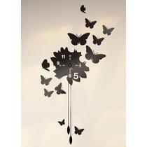 Vinilo Reloj Decorativo Mariposa, Diseño Creativo; 30x30