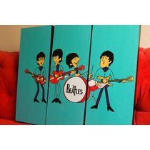 Cuadros Tripticos The Beatles Caricaturas - Musica Y Deco