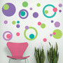 Kit De Vinilo Circulos 002 Verde-violeta-rosa Chicle