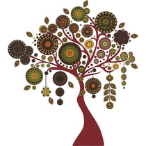 Arbol Con Mandalas, Vinilo Decorativo De Pared, Tonos Tierra