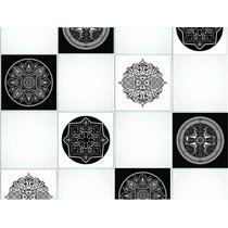 Azulejos Autoadhesivos Blanco Y Negro Cocina Baño 12u Deco