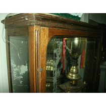 Antigua Vitrina Chependale D Roble Vidrio Bicelado 1 Puerta