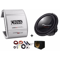 Combo Woofer Pioneer 12 Dvc+potencia Boss 1100w+caja+cables