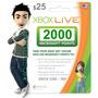 Código Microsoft Gift Card U$25 / 2000 Points Xbox 360 / One